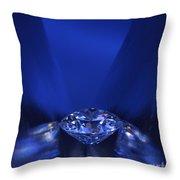 Blue Diamond In Blue Light Throw Pillow by Atiketta Sangasaeng