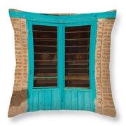 Blue Door Throw Pillow