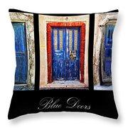 Blue Doors Of Santorini Throw Pillow by Meirion Matthias