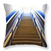 Blue Escalators Throw Pillow