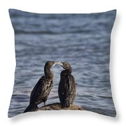 Blue Eyes Kissing Throw Pillow