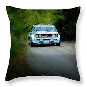Blue Fiat Abarth Throw Pillow