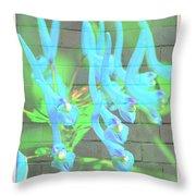Blue Flower Abstract Throw Pillow