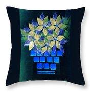 Blue Flower Pot Throw Pillow