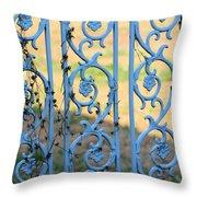 Blue Gate Swirls Throw Pillow