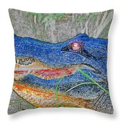 Blue Gator Throw Pillow
