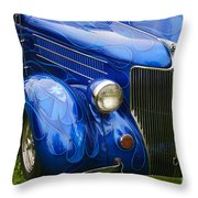 Blue Ghost Flames Throw Pillow