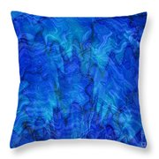 Blue Glass - Abstract Art Throw Pillow by Carol Groenen