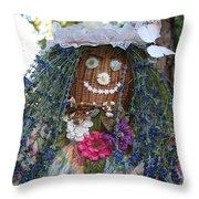 Blue Hair Bride Throw Pillow