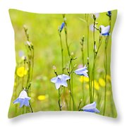 Blue Harebells Wildflowers Throw Pillow