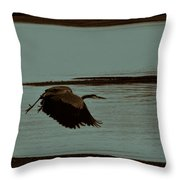 Blue Heron In Flight  Throw Pillow