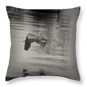 Blue Heron In Platinum Throw Pillow