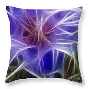 Blue Hibiscus Fractal Panel 5 Throw Pillow