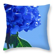 Blue Hortensia Hydrangea Throw Pillow