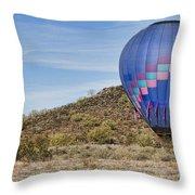 Blue Hot Air Balloon On The Desert  Throw Pillow