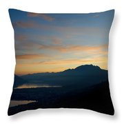 Blue Hour Over The Mountain Throw Pillow