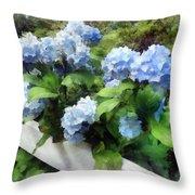 Blue Hydrangea On White Fence Throw Pillow