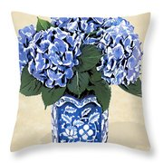 Blue Hydrangeas In A Pot On Parchment Paper Throw Pillow