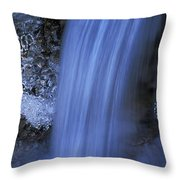 Blue Icy Waterfall Throw Pillow