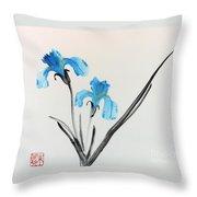 Blue Iris I Throw Pillow