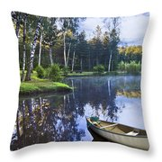 Blue Lake Throw Pillow by Debra and Dave Vanderlaan