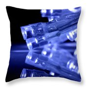 Blue Led Lights Closeup With Reflection Throw Pillow