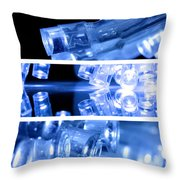 Blue Led Lights In Three Strips Throw Pillow