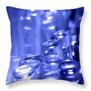 Blue Led Lights Pointing Upwards Throw Pillow