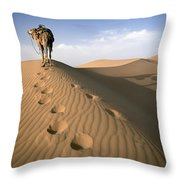 Blue Man Tribe Of Saharan Traders With Throw Pillow
