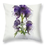 Blue Monkshood Flowers In Ice Throw Pillow