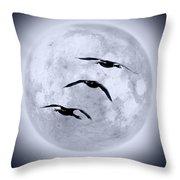 Blue Moon Geese Throw Pillow