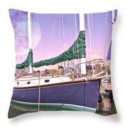 Blue Moon Harbor II Throw Pillow by Betsy Knapp