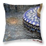 Blue Mosaic Fountain I Throw Pillow