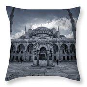 Blue Mosque Courtyard Throw Pillow