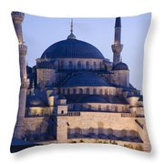 Blue Mosque Exterior Throw Pillow