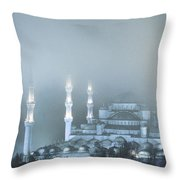 Blue Mosque In Blue Mist Throw Pillow