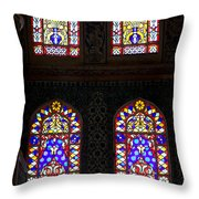 Blue Mosque Stained Glass Windows Throw Pillow