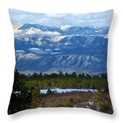 Blue Mountain View Throw Pillow