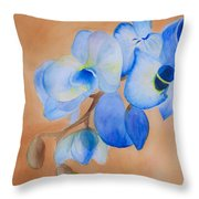 Blue Mystique Orchid Throw Pillow