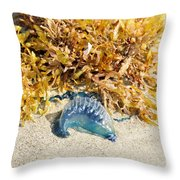 Blue On The Beach Throw Pillow