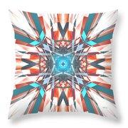 Blue Orange Kaleidoscope Throw Pillow