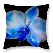 Blue Orchid Bloom Throw Pillow
