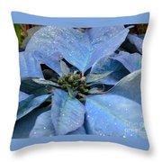 Blue Poinsettia Throw Pillow
