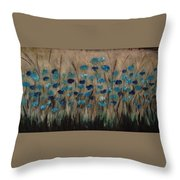 Blue Poppies And Gold Wheat Throw Pillow
