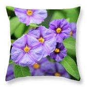 Blue Potato Bush Throw Pillow