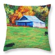 Blue Ridge Cows Throw Pillow