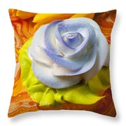 Blue Rose Cup Cake Throw Pillow