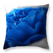 Blue Rose With Drops Throw Pillow