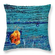 Blue Rusted Steel Painted Background Throw Pillow