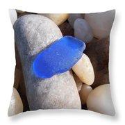 Blue Sea Glass Throw Pillow